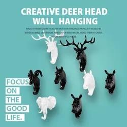 Creative Deer Head Wall Hanging Hook Vintage Deer Antlers for Clothes Hat Scarf Key Deer Horns Hanger Rack Christmas decoration