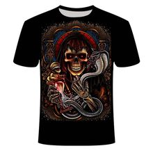 summer Shirts Skull Tiger Wolfs 3D Print Men's T-Shirt 3D Skeleton Skull-Motorcycle Slayer Men's Tee: World Painted Blood Skull(China)