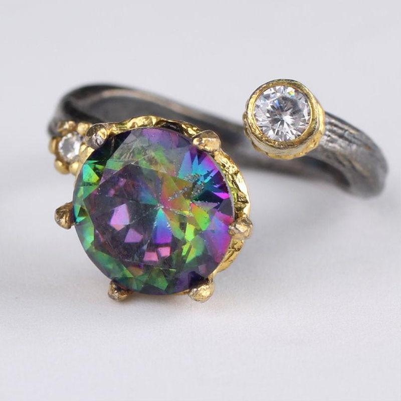 Handmade Womens Topaz Gemstone Ring, Woman 925 Silver Ring, Adjustable mystic topaz Ring, Silver Handmade Ring Price: 99 USD