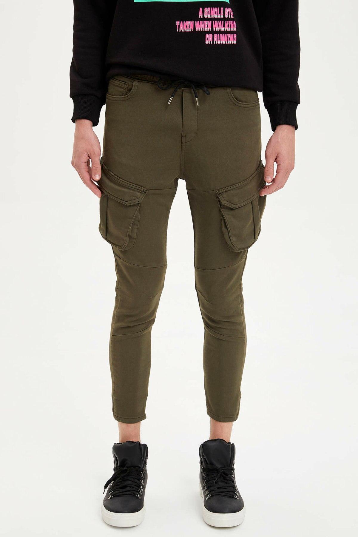 DeFacto Man Autumn Khaki Pencil Pants Men Fit Slim Ninth Pants Casual Bottom Trousers Male Mid-waist Long Pants-M5733AZ19AU