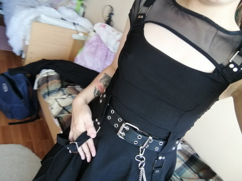 Black Dress with Mesh Shoulders Pastel gothic photo review