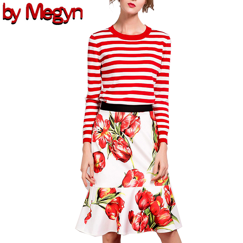 2019 fashion autumn women skirt set striped pullover wool sweater and Floral Print skirt set female 2 piece macthing set
