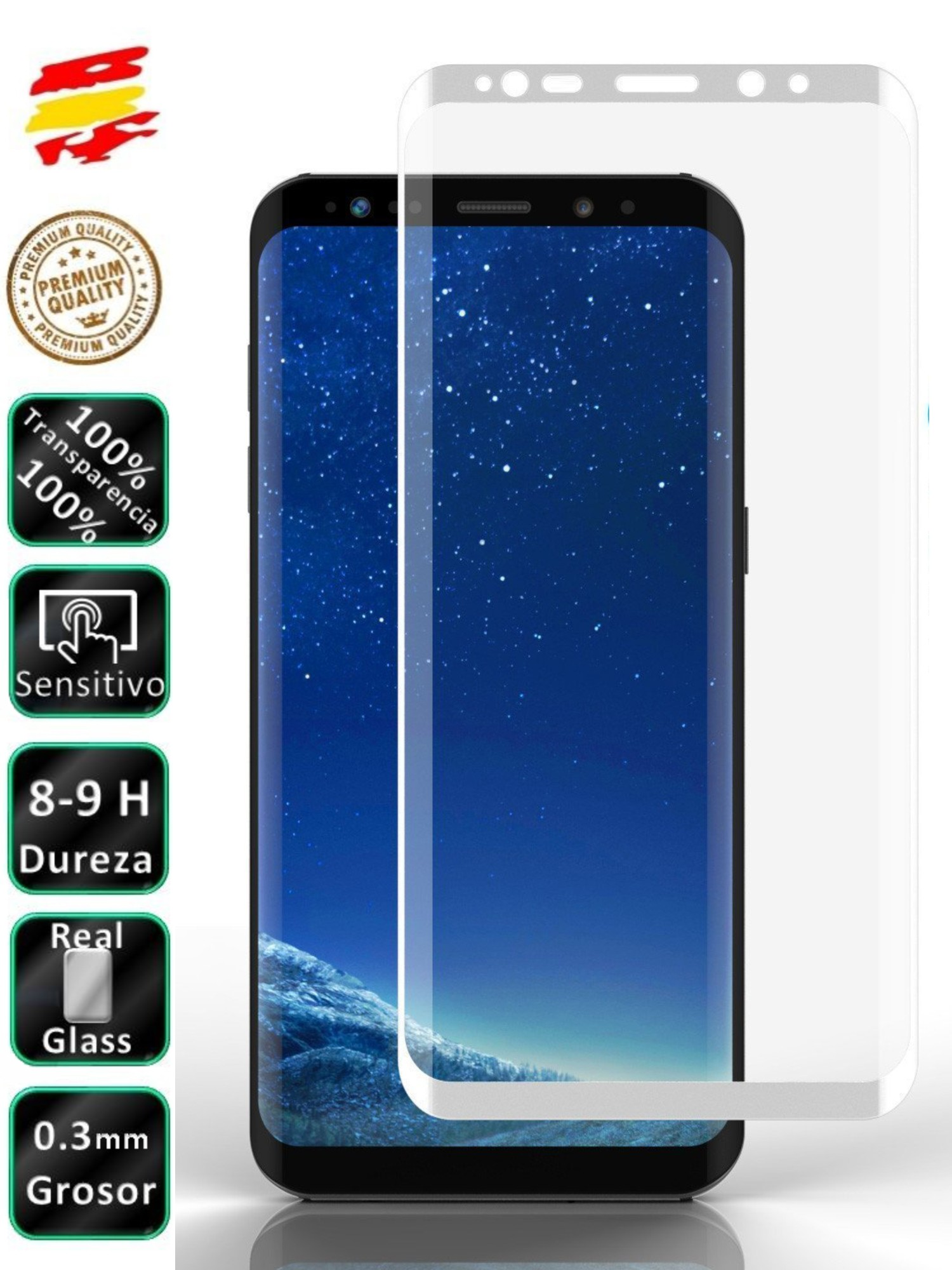 Protector Samsung Galaxy S9 White Full 3D Tempered Glass Screen