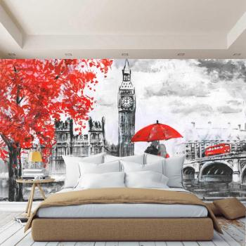 3D wall mural London figure England, black and white wallpaper, wallpaper for hall, kitchen, bedrooms, wall mural expanding space 1