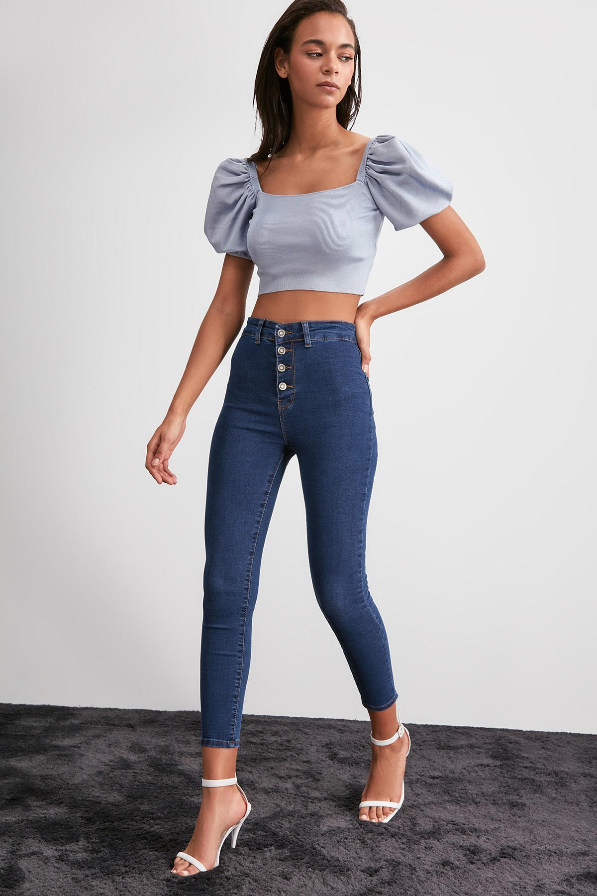 Trendyol Front Button High Waist Jegging Jeans TWOAW20JE0444