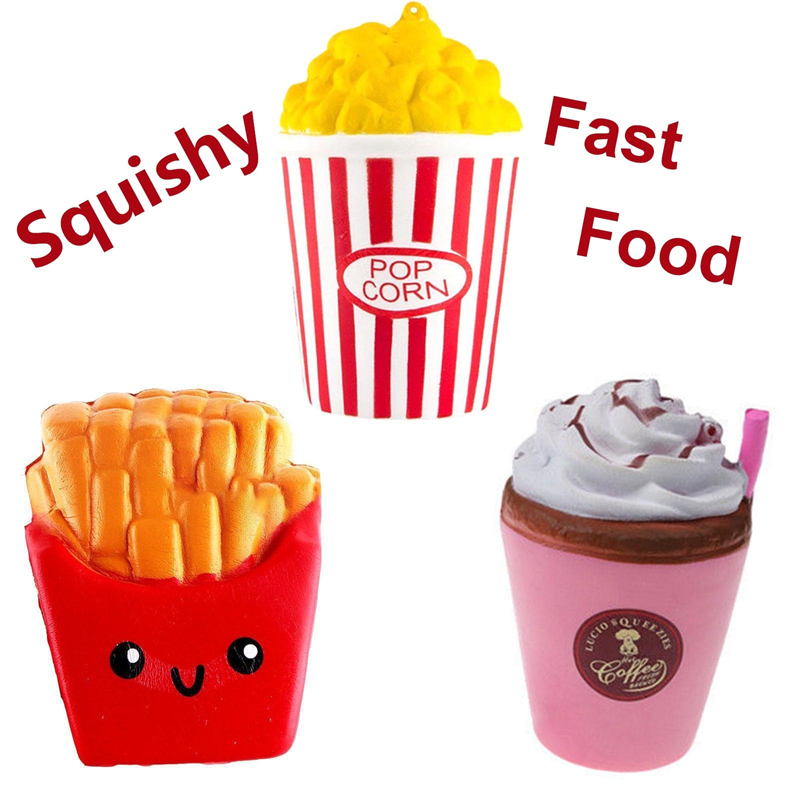 New Fashion Jumbo Slow Rising Squishy Toys Popcorn Fries Straw Cup Fast Food Stress Reliever Toys For Children In Gags Toys 1PCS