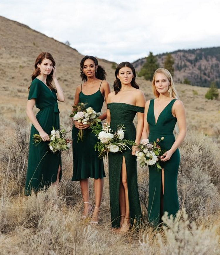 Dark Green Lace Off Shoulder Bridesmaid Dress Many Styles