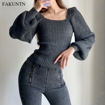 Autumn Pullover Women Sweater Knit Top Rabbit Hair Blend Lantern Long Sleeve Women Winter Clothing 2020 Vintage Knitted Sweater solid guipure lace lantern sleeve sweater long sleeve sweater women top