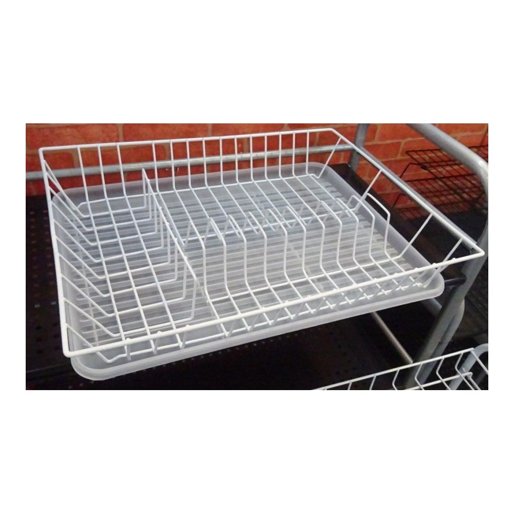 Dish Dryer 1-tier With White Tray, 43.5x33.5x8 Cm
