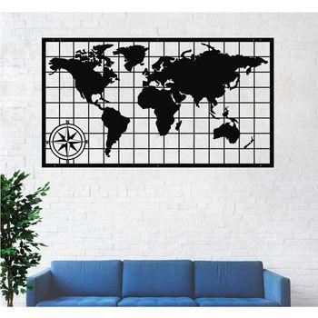 Metal World Map with Compass, Wall Decor, Art Work, Art, Hangings