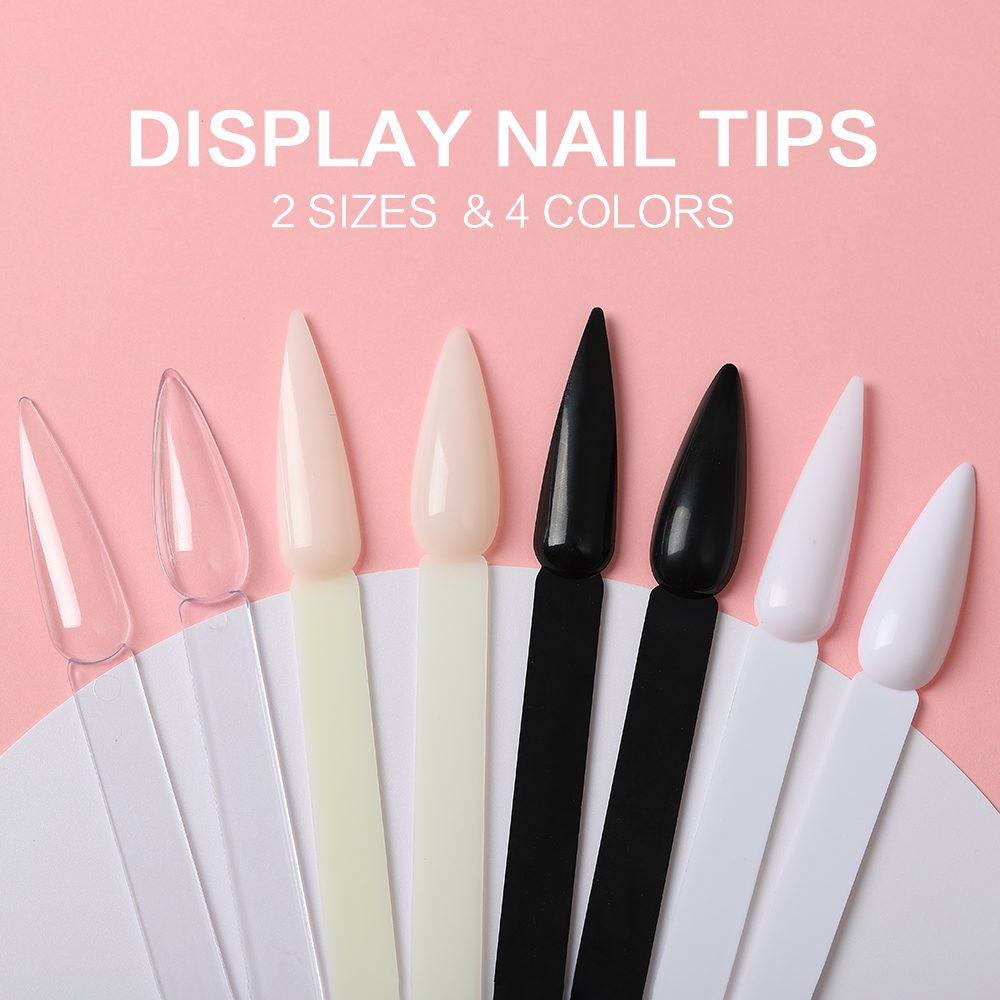 40pcs/lot 2 Size 4 Colors False Nails Display Tips Stiletto Faux Ongles Espositore Nail Wheel Clear Tip Nail Showing Shelf Salon