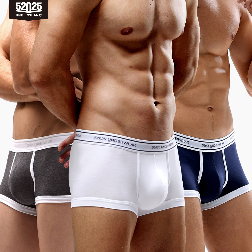 52025 Men Boxer 3-4-Pack Soft Breathable Comfortable Underwear U-convex Large Contoured Pouch Cotton Modal Soft Underpants Boxer