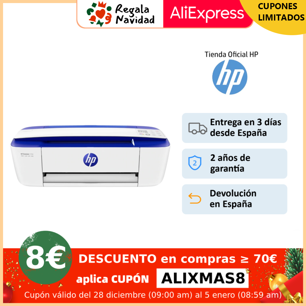 HP DeskJet 3760 (T8X19B), Impresora multifunción (imprime, escanea, copia, inyección de tinta, WiFi 802.11b/g/n integrada|Impresoras| - AliExpress