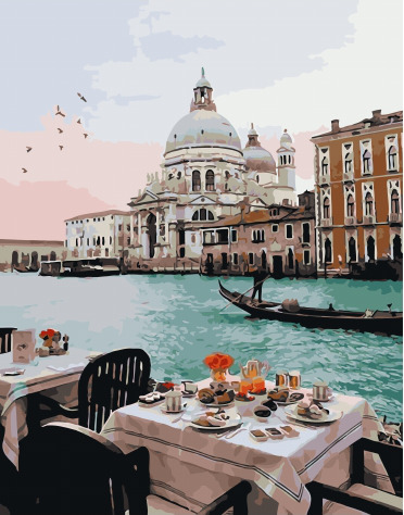 Painting By Numbers PK 51024 Breakfast At The Venetian Channel 40*50