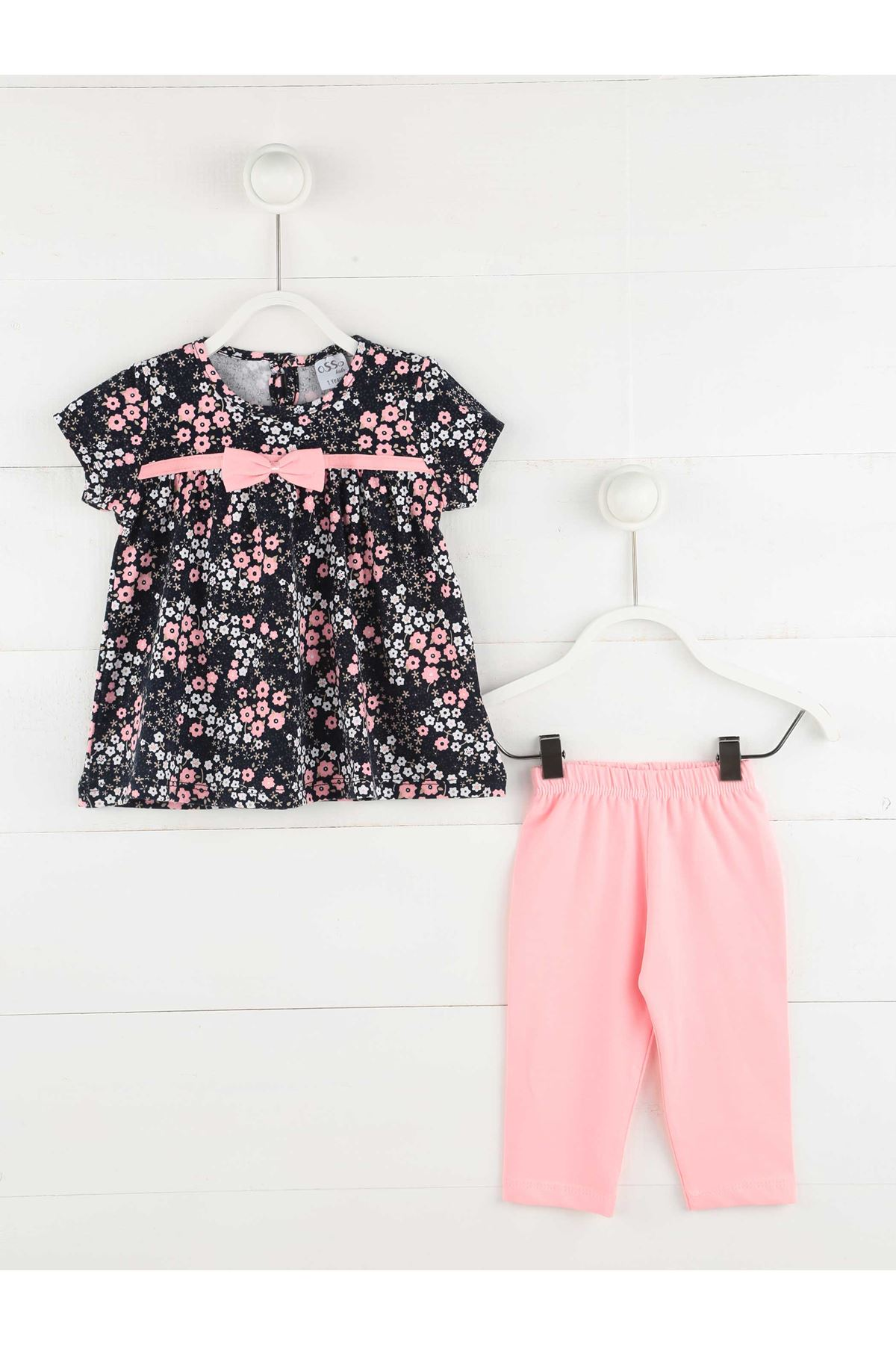 Baby Casual Daily Suit Tights Dress Daily Floral Pattern Spring Summer Girls Pink Ribbons Kids Baby Clothes