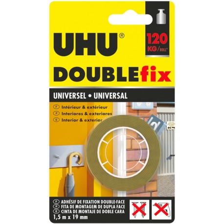 ADHESIVE TAPE DOUBLE FACED UHU DOUBLEFIX 1, 5MX19MM BROWN