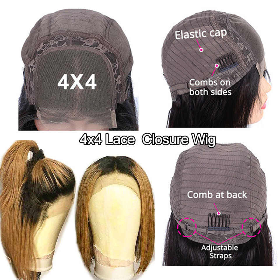 Prosta peruka z krótkim bobem 99J 613 1B/30 blond Ombre 4x4 zamknięcie koronki ludzkich włosów peruki dla czarnych kobiet Remy 180% peruwiański koronkowa peruka