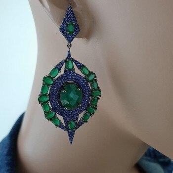 925 Sterling Silver Green and Blue Stone Statement Long Big Boho Cute Dangle Stud Earrings серьги с камнями 925