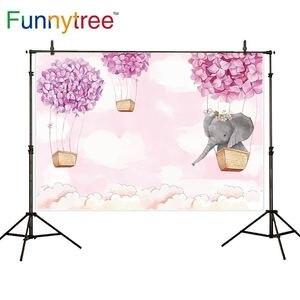 Image 2 - Funnytree Fondo de cumpleaños para foto de niña rosa, elefante, flor, globo de aire caliente, Fondo de ducha de bebé, fotofono de fotografía