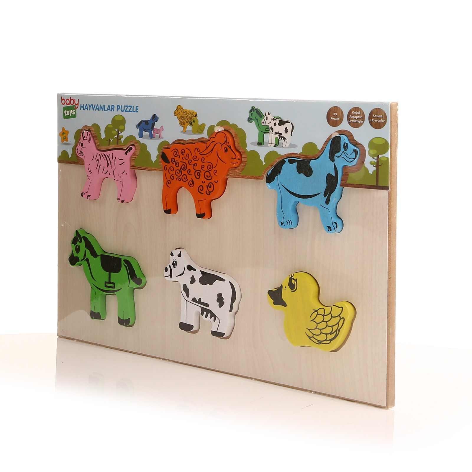 Ebebek детские игрушки деревянные детские животные головоломки