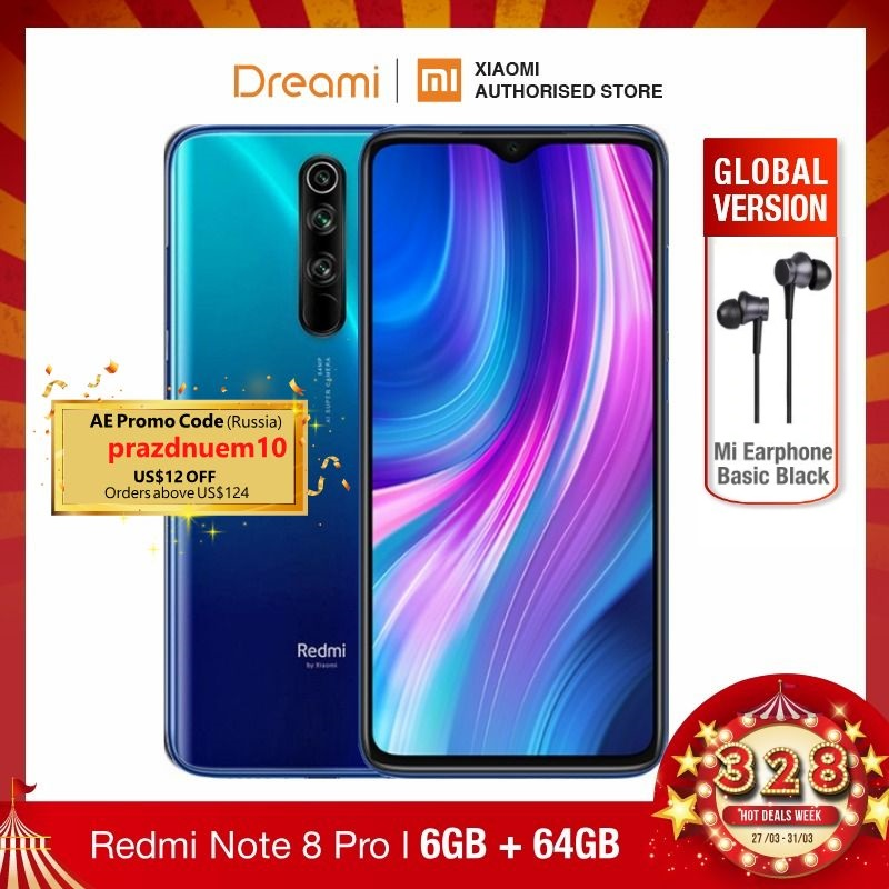 Global Version Xiaomi Redmi Note 8 PRO 64GB ROM 6GB RAM (LATEST ARRIVAL!!), Note8 Pro