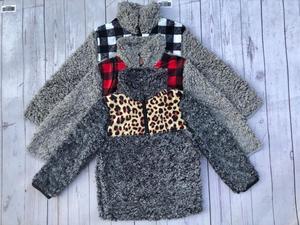 Image 2 - RTS TTS Monogram leopard cheetah buffalo plaid patch KIDS SHERPA pullovers boys&girls jackets Fleece Youth Pullover coats
