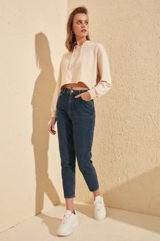 Trendyol Solid High Waist Mom Jeans TWOSS20JE0218
