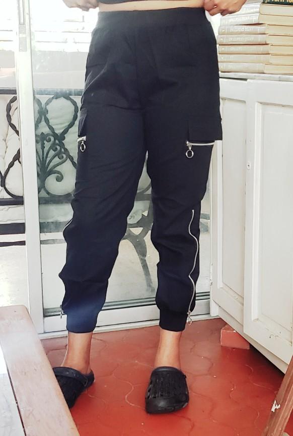 2019 Spring Side Zipper Black Overalls Trousers Streetwear Elastic Casual female Harem Pants Black Cargo Pants for Women