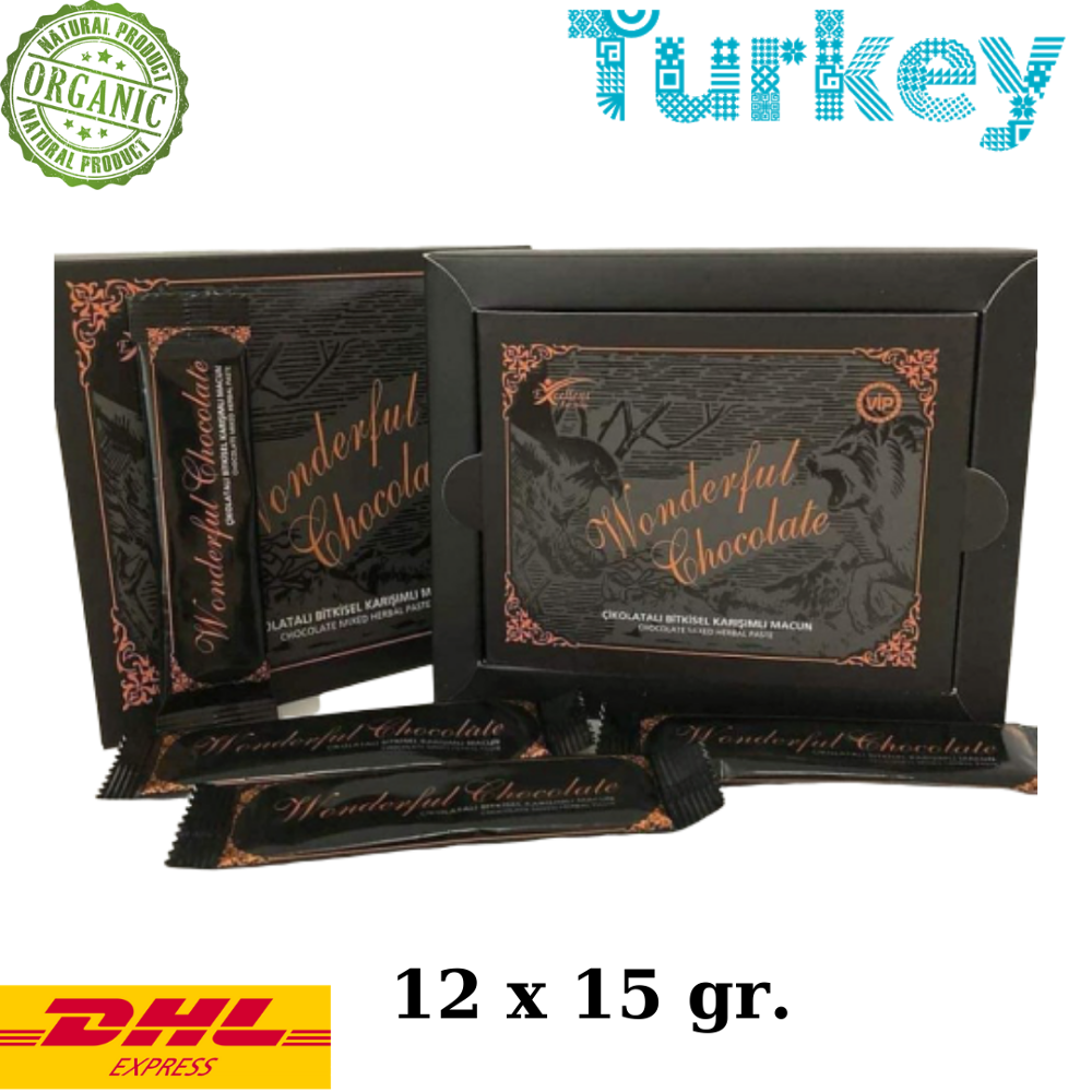 Wonderful Chocolate Epimedium Turkish Honey Mix Macun Horny Goat Weed  Herbal Aphrodisiac Chocolate Turkish Viagra, 12x15gr.