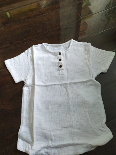 Linen 2021 Cotton Baby Boy Girl Summer T Shirts New Toddler Comfortable Tops Tee Children Clothing Kids Button 90-140CM Height photo review