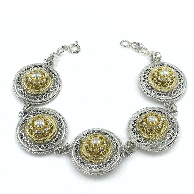 Mardin Filigree Workmanship Gold Plated Silver Bracelet