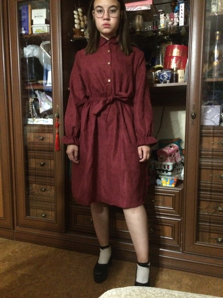 Mferlier Winter Dress Women Turn Down Collar Long Flare Sleeve Sashes High Waist Mori Girl 5 Solid Colors Vintage Shirt Dress photo review