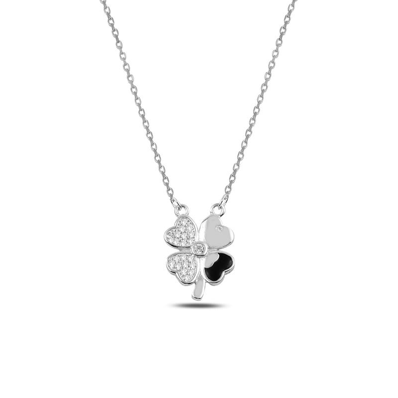 Silver 925 Sterling Clover Zircon Pendant