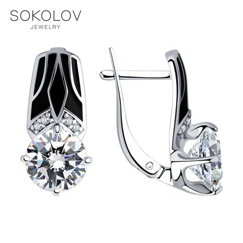 SOKOLOV Drop Earrings With Stones With Stones With Stones With Stones With Stones With Stones With Stones In Silver With Enamel And Cubic Zirconia Fashion Jewelry 925 Women's/men's, Male/female