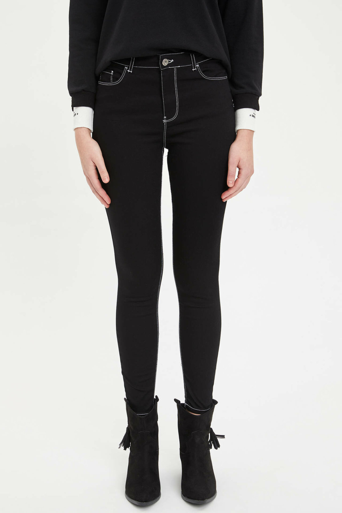 DeFacto Woman Winter Skinny Black Pants Women Casual Mid-waist Slim Long Pants Female Bottoms Trousers-K6282AZ18WN