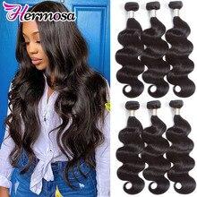 Hair-Weave-Bundles Human-Hair Body-Wave Hermosa Remy Natural-Black Brazilian 3/4pc
