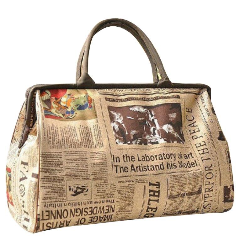 2019 HOT Fashion Women's Handbag Retro Newspaper Print Large Capacity Travel Shoulder Bag
