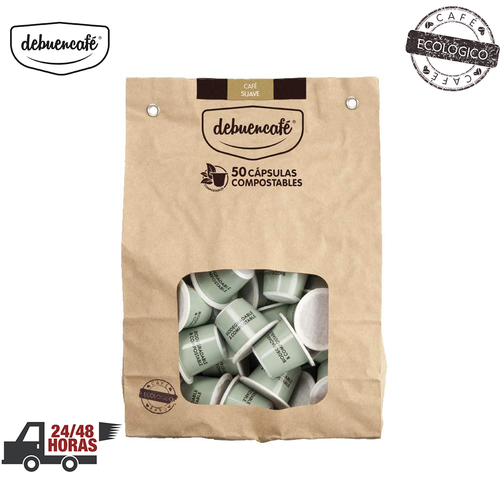 Debuencafé Eco-friendly 50 Capsules Compostable Soft With Nespresso Coffee Arabica And Robusta From India. More Search Discount Purchase In Packs
