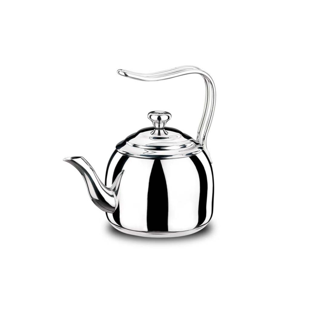 Korkmaz A053 Droppa Tea Pot, 2 Lt, Stainless Steel, Non-Abrasion And To The Face, Non-Handled Steel Handle, Solar Base Base