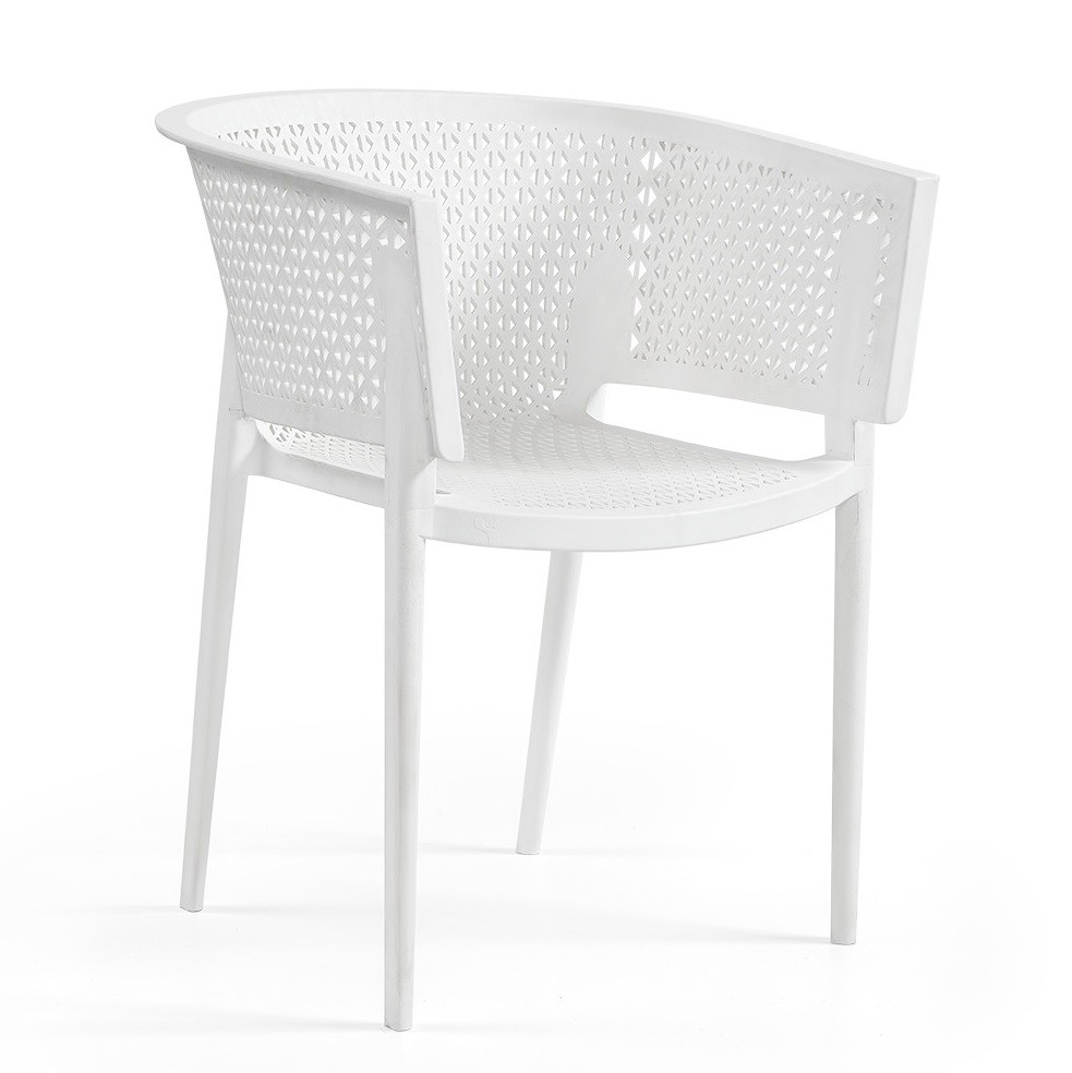 Armchair BILL, Stackable, Polypropylene White *