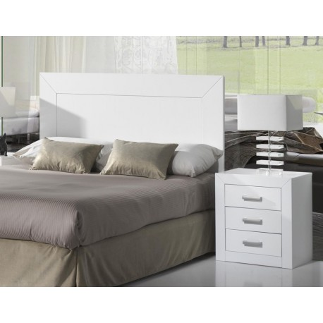 Set Marriage Headboard 2 Bedside Tables On Wooden White