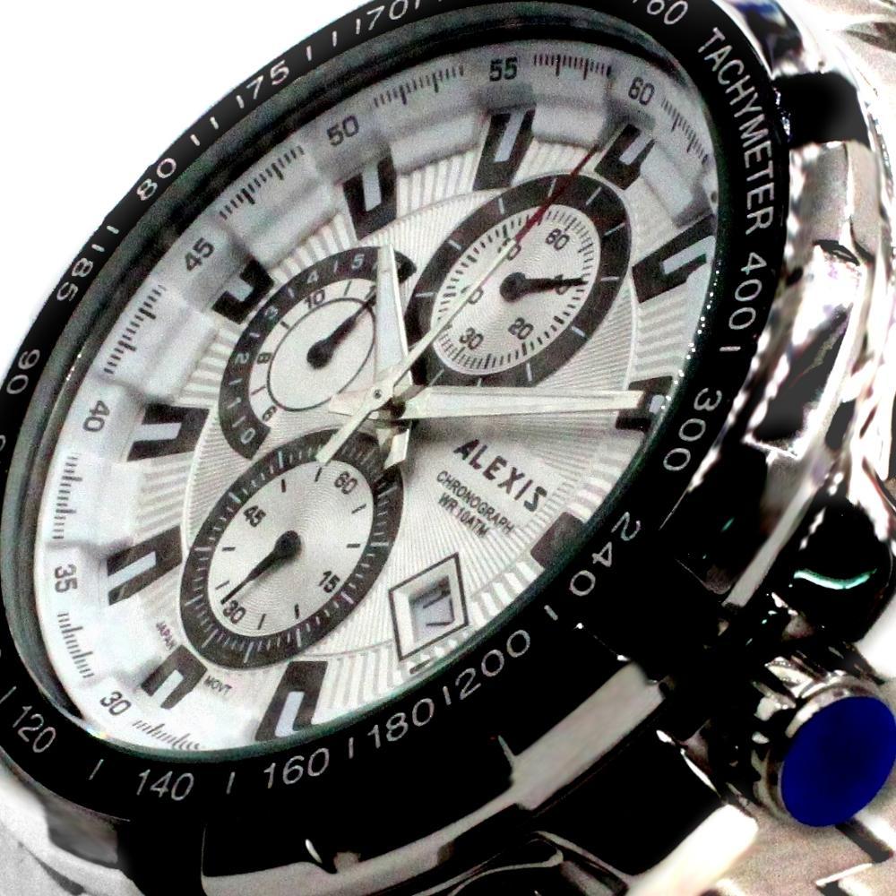 Alexis Men Analog Quartz Round Wrist Watch Miyota 0S10 Chronograph Matt Silver Stainless Steel Band White Dial Water Resistant-in Quartz Watches from Watches    1