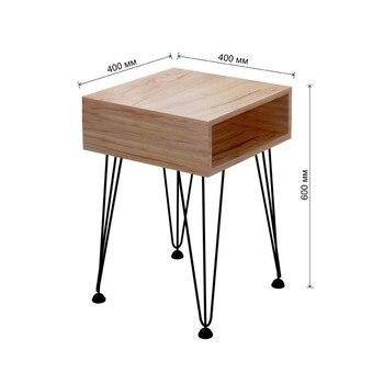 Прикроватная тумба Liverpool в стиле лофт, с полкой для хранения, 40x40х60 см  Loft style bedside table atmospheric design vintage 60s metal elements furniture wooden wood grain