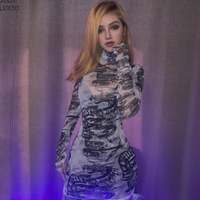 Sisterlinda Mesh Material Bodycon Mini Dress Women Turtleneck See-through Dragon Print Party Dress 2020 New Fall Ladies Vestidos