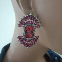 925 Sterling Silver Earrings Red Stone Statement Long Big Boho Cute Dangle Stud Earrings серьги с камнями 925