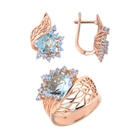 Jewelry QSY sets for women. Beautiful women earrings with stones. Big wide ring with flower Zircon Blue