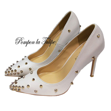 MNK 930020 Stylish Rivet Pointed Toe Elegant Sheepskin Pumps 6/8/10CM Chic Stilettos Fancy Fashion Party Wedding Women Shoes