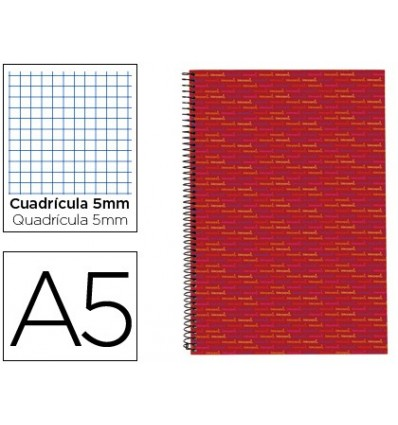 SPIRAL NOTEBOOK LIDERPAPEL A5 MICRO MULTILIDER LINED CAP 140H 80 GR TABLE 5MM 5 BANDS 6 DRILLS RED