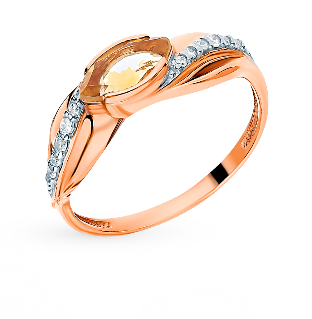 Gold Ring With Cubic Zirconia And Citrines SUNLIGHT Test 585
