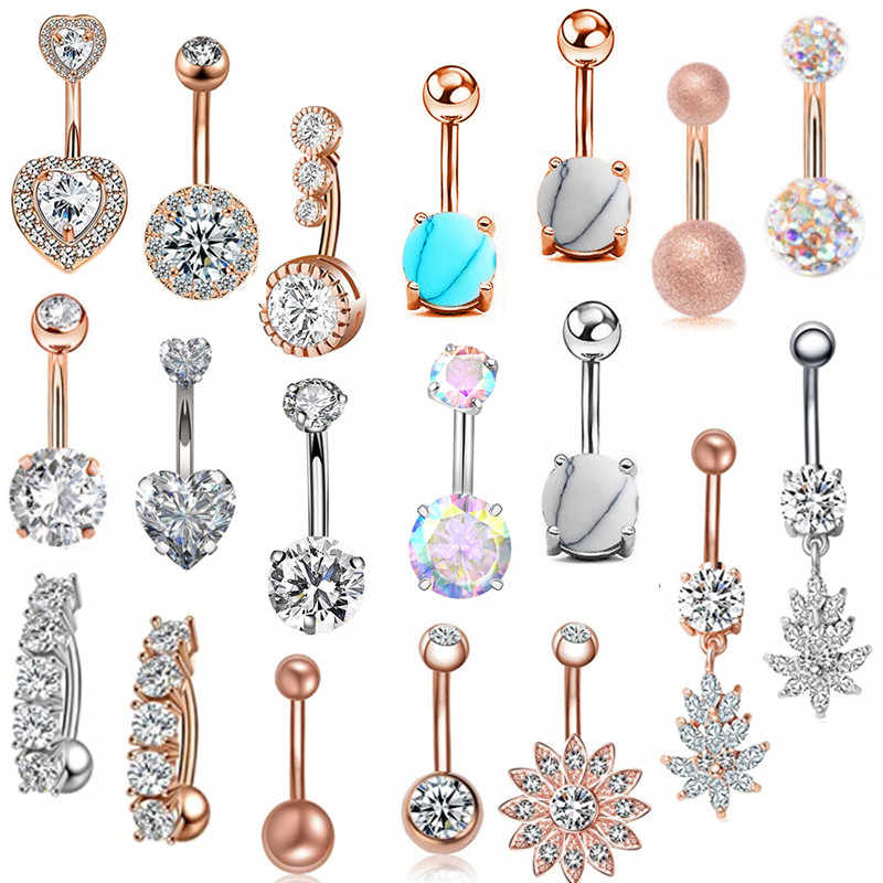 1 Pcs Crystal Belly Button Ring 14G Hart Belly Piercing Dangle Bloem Navel Piercing Rose Gold Sexy Navel Bar schattige Buik Ring